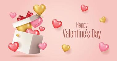 Happy valentines day vector banner greeting card with valentine elements
