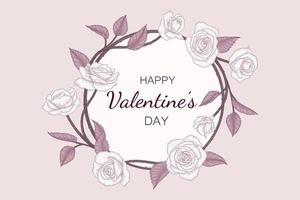 Hand drawn floral valentine's day background.
