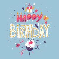 Vintage Nice Happy Birthday Greeting Card vector