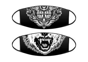 Virus Protection Black Mask Vector Design with skull and wolf