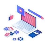Internet content vector isometric illustration concept