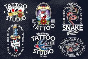emblemas de vector de tatuaje de la vieja escuela