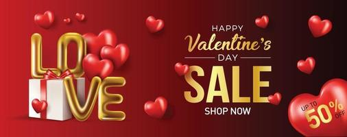 Happy valentines day vector banner greeting card with valentine elements like gift and hearts design in red background. Gold metallic text Love, realistic red balloons. Vector Illustration