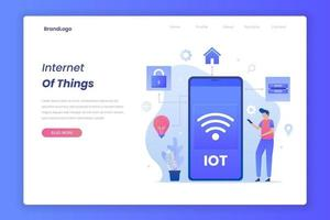 Landing page of internet of things concept vector