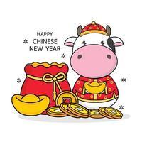 feliz año nuevo chino 2021 año del buey. vector