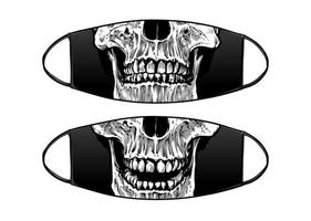 Virus Protection Black Mask Vector Design with skull jaws