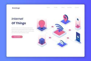 Internet of things isometric landing page concept vector