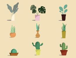 Potted plants isolated. Vector set green plant in pot.