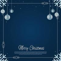 Navidad cayendo copo de nieve y adornos aislados sobre fondo azul clásico. vector