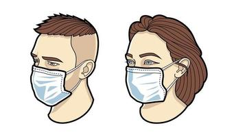 Faces of masked man and woman vector