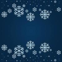 Fondo abstracto vector de copo de nieve cayendo de Navidad aislado sobre fondo azul clásico.