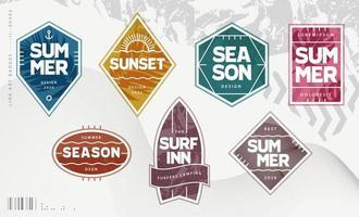 Line Art Geometric Summer Emblems Set