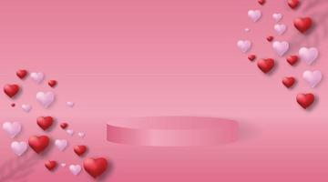 3d pink vector background with podium and pink wall. Minimal 3d abstract background.