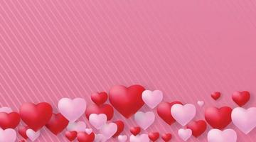 Valentine's day background with 3d hearts.