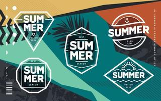 Line Art Geometric Summer Emblems Set vector