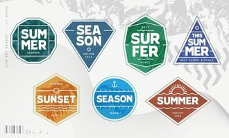 Line Art Geometric Summer Emblems vector