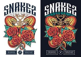 Poster Design with Two Snakes vector