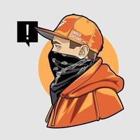 hombre en gorra y pañuelo arte vectorial vector