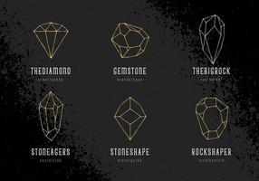 Crystals Logo Templates Vector Set