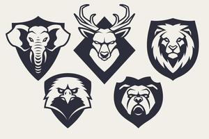 mascota animales emblemas conjunto de vectores