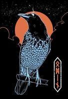 Mystical Crow Vector Illustration