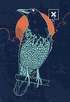 Ilustración de vector de cuervo místico