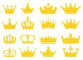 Conjunto de ilustración de diseño de vector de corona real aislado sobre fondo blanco