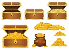 Treasure chest vector design illustration set isolated on white background