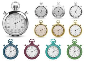Retro stopwatch vector design illustration set isolated on white background