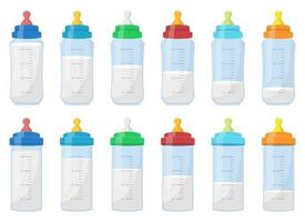 Conjunto de ilustración de diseño de vector de botella de leche de bebé aislado sobre fondo blanco
