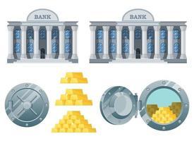 Stylish bank building vector design illustration set isolated on white background