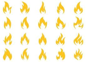 Fire icon vector design illustration set isolated on white background
