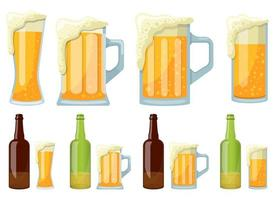 Mug and bottle of beer vector design illustration set isolated on white background
