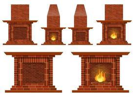 Stylish vintage fireplace vector design illustration set isolated on white background