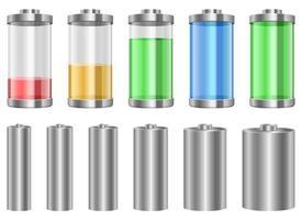 Conjunto de ilustración de diseño de vector de batería digital aislado sobre fondo