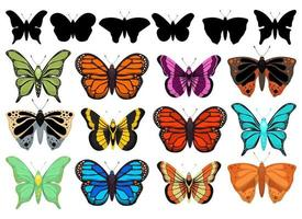 Butterfly vector design illustration set isolated on white background