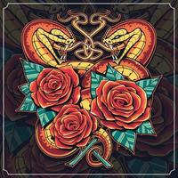 Snakes with Roses Vector Art