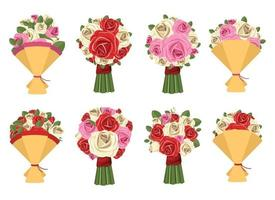 Flower bouquet vector design illustration set isolated on white background