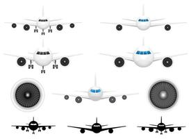 Airplane front view vector design illustration set isolated on background