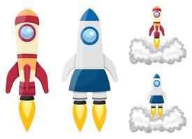 Rocket spaceship vector design illustration set isolated on white background