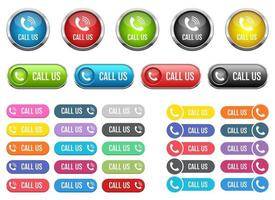 Call us button vector design illustration set isolated on white background