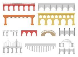 Conjunto de puentes conjunto de ilustración de diseño vectorial aislado sobre fondo blanco. vector