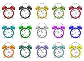 Alarm clock vector design illustration set isolated on white background