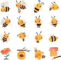 Super Cute Cartoon Honey Bees Set vector