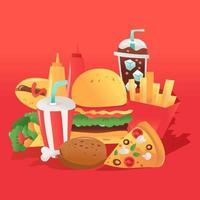 colección de comida rápida súper divertida vector