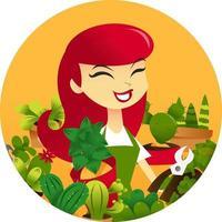 Cartoon Woman Gardening Round Frame vector