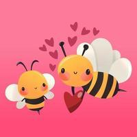 Super Cute Cartoon Honey Bees In Love vector