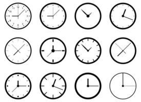 Conjunto de ilustración de diseño de vector de icono de reloj aislado sobre fondo blanco