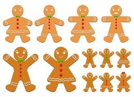Gingerbread man vector design illustration set isolated on white background