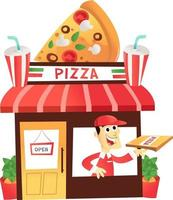 Cartoon Pizza Shop With Delivery Man At the Window vector